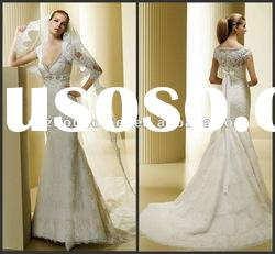 Brilliant Mermaid V-neck Short Sleeve Sequins Stones Lace&Satin Sweep Train Bridal Gown