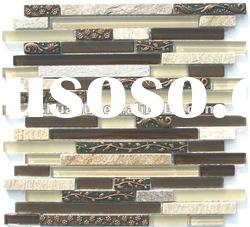 Brown glass resin slate wall mosaic glass tiles HG-CDT030