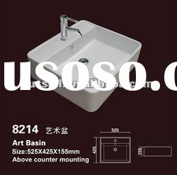 Ceramic bathroom trough sink with faucet / Ceramic wash band basin (Russell 8214)