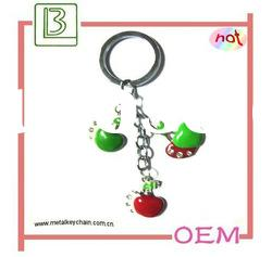 Crystal Green apple and red apple charm keychain