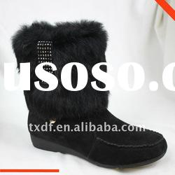 Diamond-studded flat suede ankle boots, rabbit fur boot