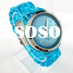 Elegant Stainless Steel Quartz Wrist Watch With Blue Strap(NBW0FA6309)