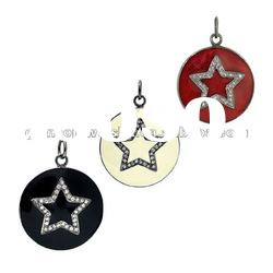 Enamel Pendant Jewelry, Fashionable Pendant, Diamond Pave Jewelry, Silver Jewelry, Wholesale Jewelry