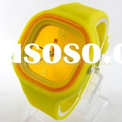 Fashion Square Yellow Stainless Steel Quartz Wrist Watch