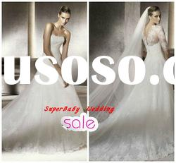 Fashion W-1198 strapless white ball gown lace bridal wedding gown