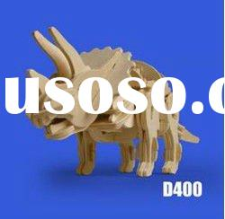 HOT sell R/C Wooden 3D Puzzle Dinosaur /Triceratops