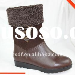 Lady brown ankle boot, women leather winter boots