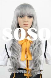 Long silver gray anime cosplay wigs/Extra long women curly wigs(BSFW-2196)