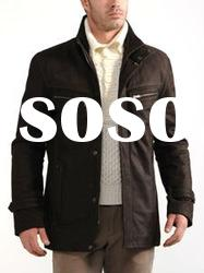 Men's brown leather jacket with high collar