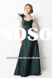One-shoulder A-line ruffle corset waist ankle ankle dark green bridesmaid dresses