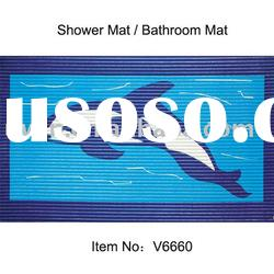 PVC Foam printed Non-Slip Shower mat,Bath Mat