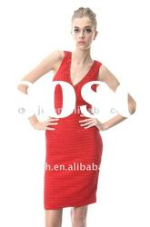 Red V-neck Beaded Knee Length Homecoming Dresses Christmas Party Dress S026