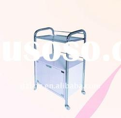 Salon tool car made of Stainless steel frame, the wooden box and toughened glass