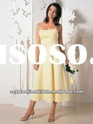 Spaghetti strap A-line ruffle corset waist knee length yellow chiffon bridesmaid dresses