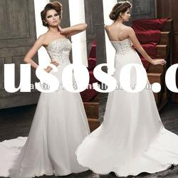 Strapless Appliqued Lace A-line Satin Fashional Wedding Dress