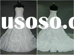 Strapless embroidery taffeta dress wedding gown for 2012 bridal SW39