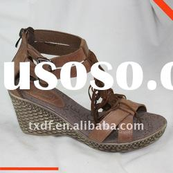 Summer shoes for women, tassel, genuine leather,zipp in the back, footwear, 2012 wedge sandals