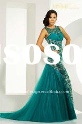 TE-293 Allure bodice all over beading with sleeveless trumpet tulle trumpet Evening dress