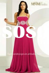 TE-294 Allure beading at waist with spaghetti strap chiffon straight Evening dress