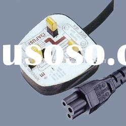 UK ac power cord plug with computer connector