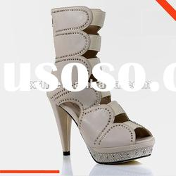 Women white with stone diamond soft Leather Sandals, high heel sandals