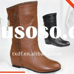 Women winter flat leather boots, light up shoes for women