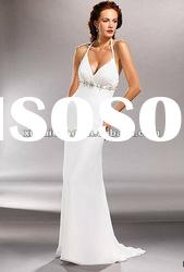 YW-12061160 V-neck Backless Halter Organza made Bridal Dress for Beach Wedding