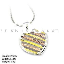 [DZ-889] 925 Silver Jewelry, Sterling Silver Pendant without MOQ, 3 Colors HeartSilver Pendant