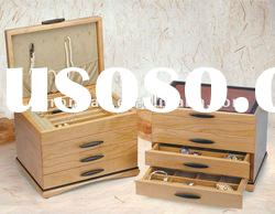 big wooden jewellery box with drawers
