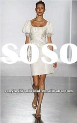 casual style beads accented knee length wedding dresses with sleeves