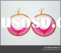 colorful string with gold plated hoop earrings