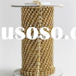 crystal rhinestone cup chain gold color