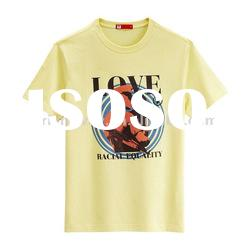 custom high quality 100% cotton yellow men s t shirt