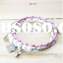 fashion handmade pearl binded leather charm bracelets and bangles jewerly accessory