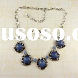 fashion jewelry hot sale china alloy necklace with resin stone