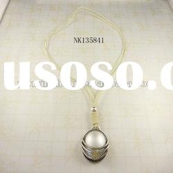 fashion resin stone pearl necklace wholesale plated silver
