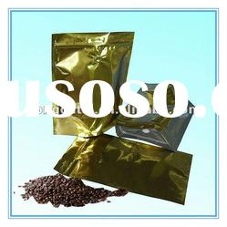 gold printing stand up aluminum foil resealable coffee bag