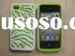 green HOLLOW PLASTIC and SILICONE combo hybrid hard rubberized cover case for APPLE IPHONE 4G 4S 4GS