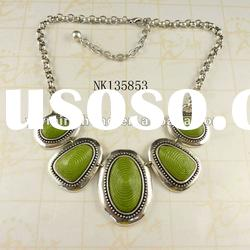 hot sale jewelry antique silver zinc alloy resin fashion ladies necklace