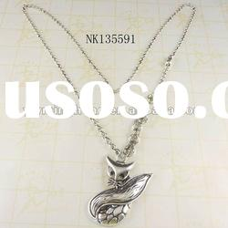 latest fashion jewelry silver plated animal pendant necklace