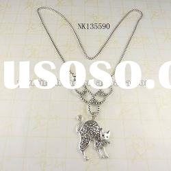latest fashion jewelry silver plated cat pendant necklace