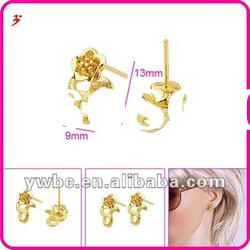 micro fashion gold plated brass stud earrings (E630633)