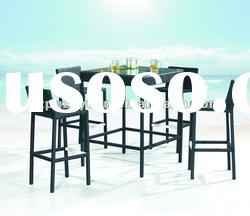 modern PE rattan table and chair,outdoor rattan bar set(PZY-E622)