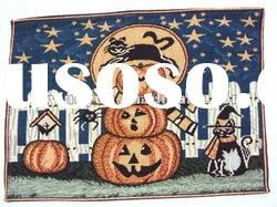 polycotton yarn dyed Halloween pumpkin tapestry place mat