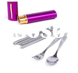 stainless steel travel camping cutlery with aluminium box