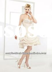 sweetheart neck beads accented knee length pink wedding dresses