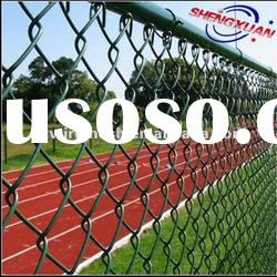 the basketball court fence / stadium fence (green PVC coated chain link fence)