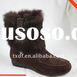 woman cow suede ankle boots, with diamond-studded rabbit fur shoes