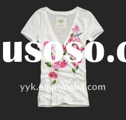 women's white cotton t shirt with flower pattern