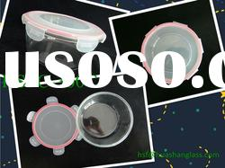 1600ml Round glass food container with pp lid/microwave oven safe
